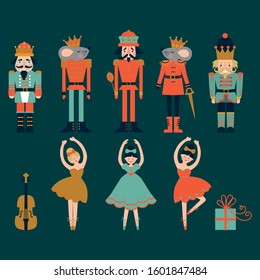 Christmas set of Nutcracker ballet with solders, mouse, ballerinas and violin  . Vector illustration.