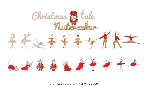 Christmas set with nutcracker, princess, Mouse King, sugar plum fairy, winter fairy. Holiday collection with cute cartoon characters. Vector illustration isolated on white background.