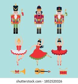 Christmas set of nutcrackers, ballerinas, trumprt, drum and violin on blur background. Vector illustration.