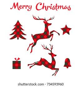 Christmas set on tartan background. Deer, bell, star, tree and box. Vector illustration.