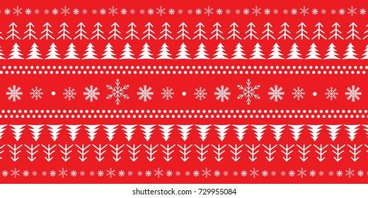 Christmas set ornament with snowflakes, dots and christmas tree