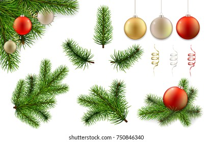 Christmas set with pine tree branches and christmas balls. Realistic vector elements for design greeting cards.