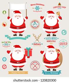 Christmas set - Santa Claus, emblems and other decorative elements. Vector illustration.