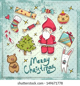 Christmas set with Santa, cute animals, gifts and balls. Bright and cute illustration. Vector file is easy to change colors and edit.