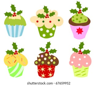 Christmas set of sweet cupcakes decorated with holly berry