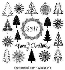 Christmas set. Trees, snowflakes, ball, wreath, frame, 2017 number hand drawn isolated on white background. Handwritten font. Vector design