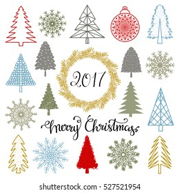 Christmas set. Trees, snowflakes, ball, wreath, frame, 2017 number hand drawn isolated on white background. Handwritten font