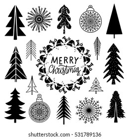 Christmas set. Trees, snowflakes, ball, frame hand drawn isolated on white background. Handwritten font. Vector design