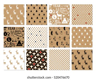 Christmas set of vector hand drawn seamless patterns with deer, santa, christmas tree, snowflakes, triangle, polka dot. New Year and Merry Christmas set on kraft paper background in hipster style.