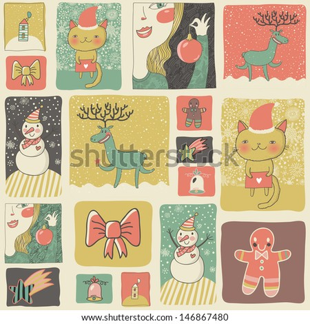 christmas set in vintage style cartoon new year cards and wallpapers in childish style