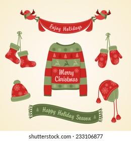 Christmas set. Warm clothes for Christmas.