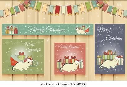 Christmas Set of Web Banners. Cute Christmas little ferret. Vector illustration.