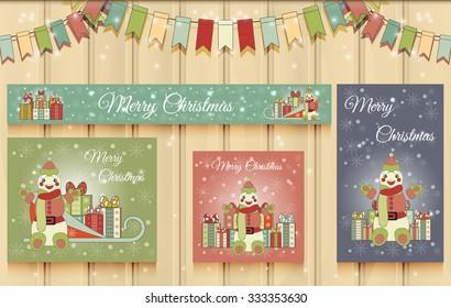 Christmas Set of Web Banners. Vector Illustration of Snowman Cartoon Character. Merry Christmas.