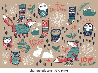 Christmas set with winter elements and text in cartoon style. Fox and owls, snowflake and bunny, mistletoe and socks. Lovely vector illustration for meeting New year and Christmas.