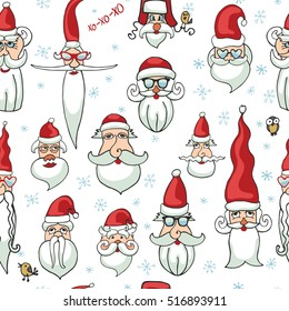 Christmas set.Santa faces seamless pattern.Hand drawn vector. New year humor. Santa hair style.Different caracters. Old man in red hat. Christmas illustration,background,wallpaper,ornament