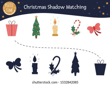 Christmas shadow matching activity for children. Cute funny present, Christmas tree, candle, candy cane, bow. Find the correct silhouette winter game
