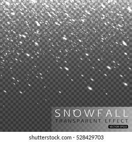 Christmas shining falling snow on transparent background vector illustration.