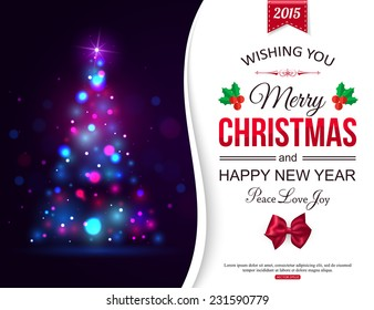 Christmas shining typographical background with xmas tree lights and place for text. Vector illustration.
