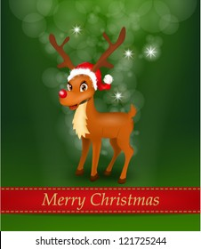 Christmas Shiny Background with Reindeer wearing Santa Claus Hat