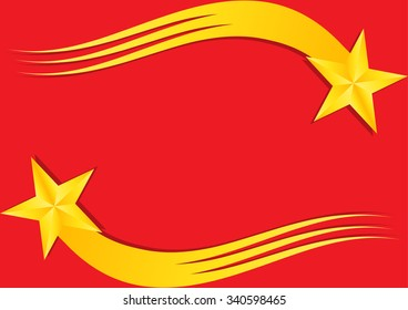 Christmas shiny gold stars with tail and shadows on red background. Vector illustration.