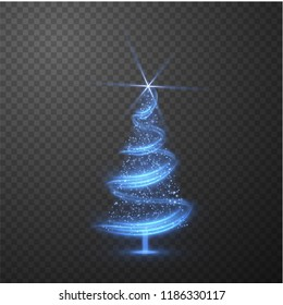 Christmas shiny tree background with blurred lights effect on abstract background. Vector EPS10.