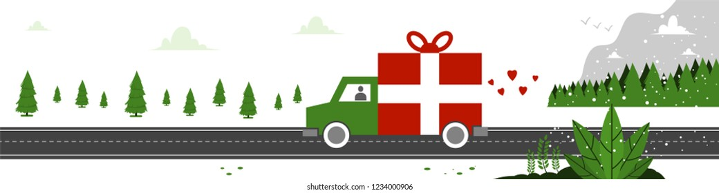 Christmas shipping. Vector concept illustration of holiday delivery with gift truck and winter landscape.