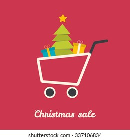 Christmas shoping cart with tree and gifts. Vector illustration.