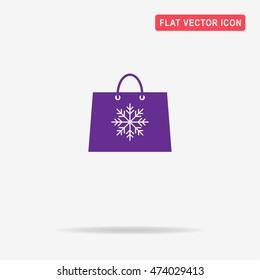 Christmas shopping bag icon. Vector concept illustration for design.