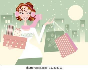 Christmas Shopping Girl- City in Winter Background