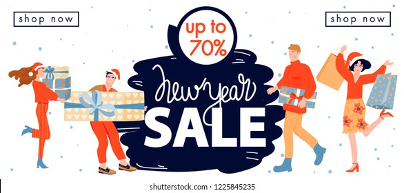 Christmas shopping. Christmas and Happy New Year sales banner. Happy people with Christmas gift and purchases. Vector illustration.