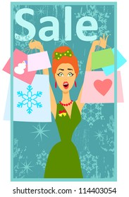 Christmas shopping, sale, Happy excited woman holding shopping bags, 50s, 60s fashion