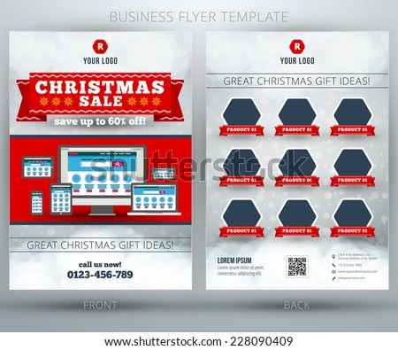 christmas shopping sale vector business flyer stock vector royalty