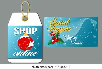 Christmas shopping.Smart shopper card and label online shopping.Vector illustration