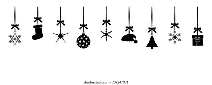 christmas silhouettes pendants black isolated