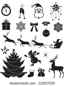 Christmas silhouettes with Santa, reindeer, fir, snowman, holly, and other