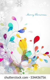 Christmas silver background with snowflakes and colorful mistletoe - vertical version