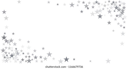 christmas silver glitter stars background, sparkle lights confetti falling. magic shining Flying stars on night sky cosmic backdrop, winter vector border isolated on white.