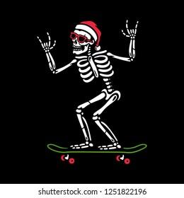 CHRISTMAS SKELETON ON SKATEBOARD BLACK BACKGROUND