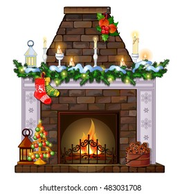 Christmas sketch with the fireplace and decorations. Sample of the poster, invitation and other cards. Vector illustration.