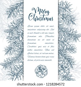Christmas sketch hand drawn illustration with pine tree branches and cones.Vector illustration for your design. Template greeting card with pine tree branches. Engraved style illustration.