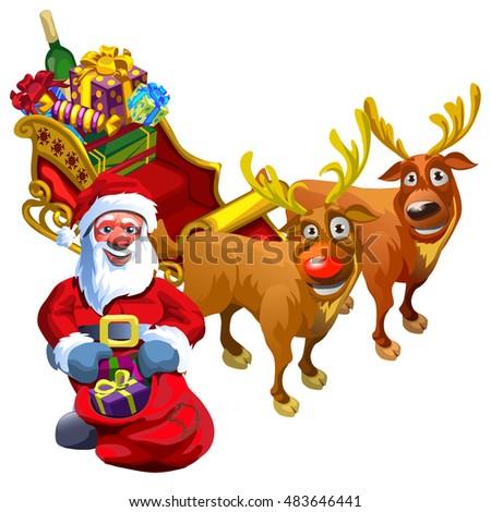 christmas sketch santa claus reindeer sleigh stock vector royalty