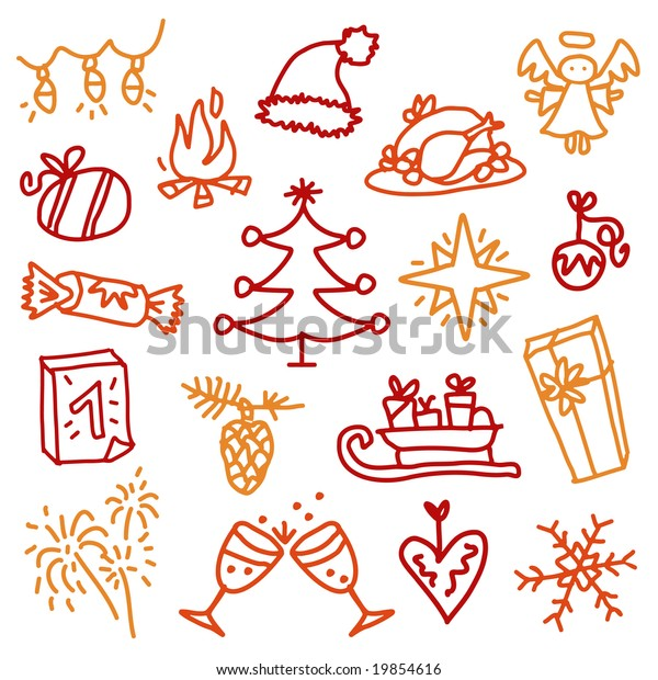 Christmas Sketches.Christmas Sketches 3 Stock Vector Royalty Free 19854616