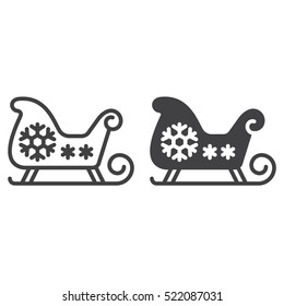 Christmas Sled, Santa's Sleigh line icon, outline and filled vector sign, linear and full pictogram isolated on white, logo illustration