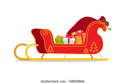 Christmas sleigh with presents vector illustration isolated on white. Red Santa's sledge with New Year tree ornament, full of gift boxes cartoon style