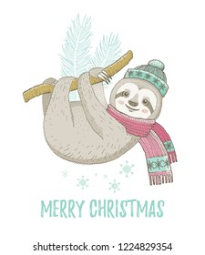 Christmas Sloth in winter mint hat, pink scarf. Cute baby animal. Merry Xmas cartoon poster with happy lazy sloth . For girl t-shirt print card. Hand drawn symbol, vector illustration isolated.