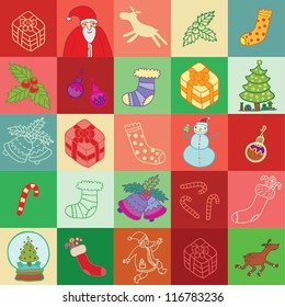 christmas small  squares pattern