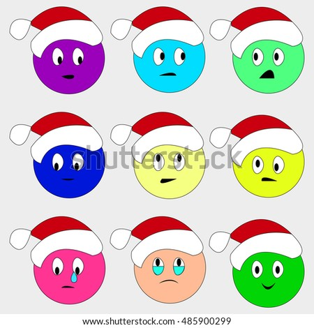 christmas smiley set faces emotions - Christmas Smiley Faces