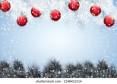 Christmas snow background with black spruce fir tree and glass balls. Trendy color of season. Winter Holiday xmas mockup and backdrop. Vector Illustration.