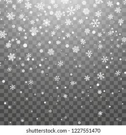 Christmas snow. Falling snowflakes on dark background. Snowflake transparent decoration effect. Xmas snow flake pattern. Magic white snowfall texture. Winter snowstorm backdrop illustration.