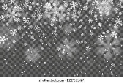 Christmas snow. Falling snowflakes on dark background. Snowflake transparent decoration effect. Xmas snow flake pattern. Magic white snowfall texture. Winter snowstorm backdrop illustration.